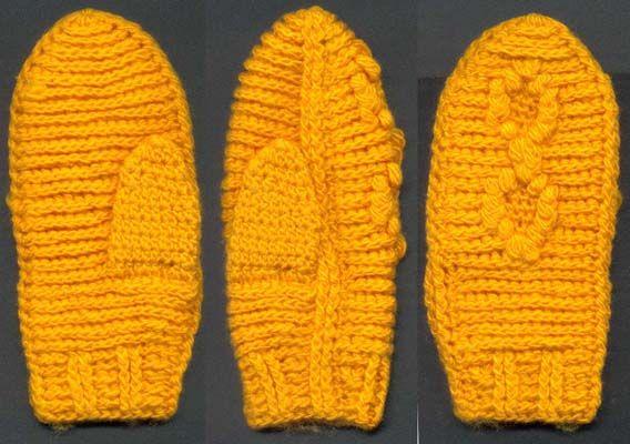 Вязаный крючком комплект: шапочка и варежки
