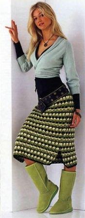 Юбка в зеленых тонах