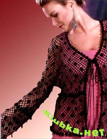 Блузка из х/б пряжи и бисера