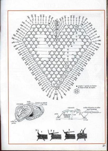 Вязаная коробочка-сердце
