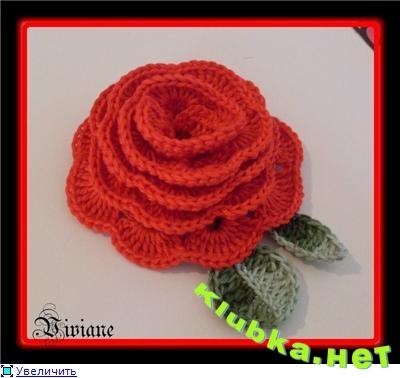 Модели вязаные цветы роза крючком