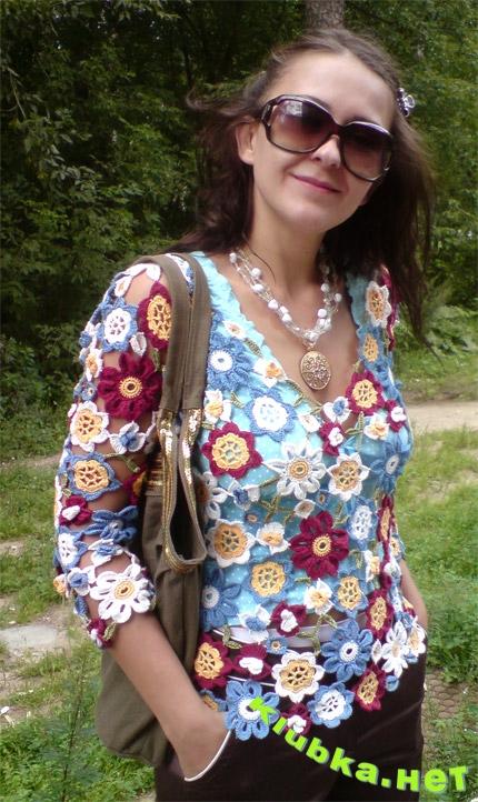 Вязание крючком цветами кофт