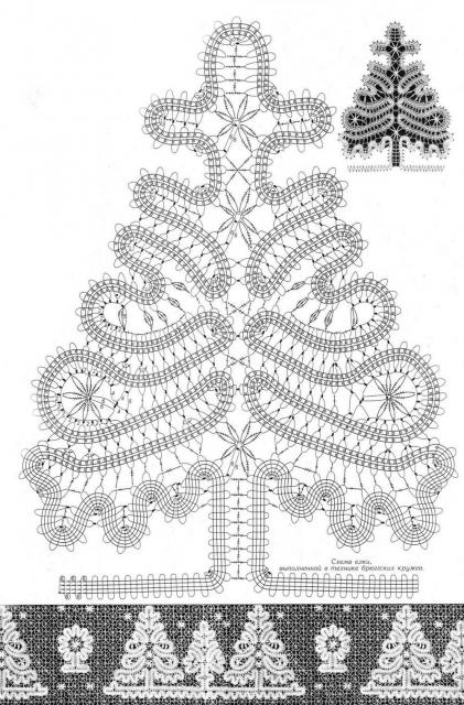 Вязание крючком снежинок и ёлки