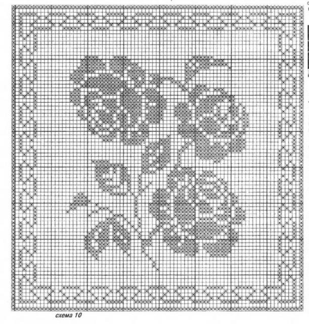 """Схемы """"Цветы и бабочки"""" для филейного вязания"""