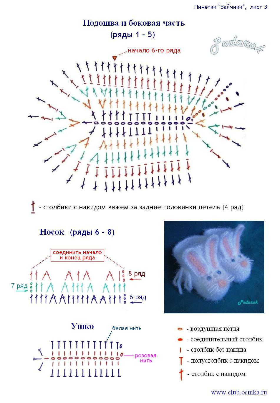 Пинетки крючком: схемы, идеи - схема пинеток 23