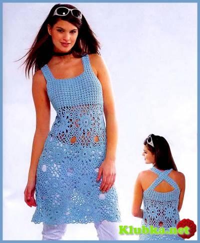 Бирюзовое платье крючком