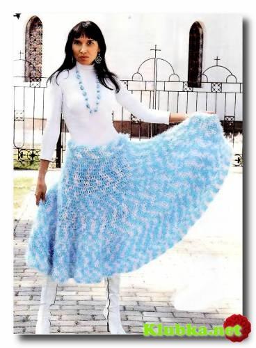Широкая юбка- сарафан крючком