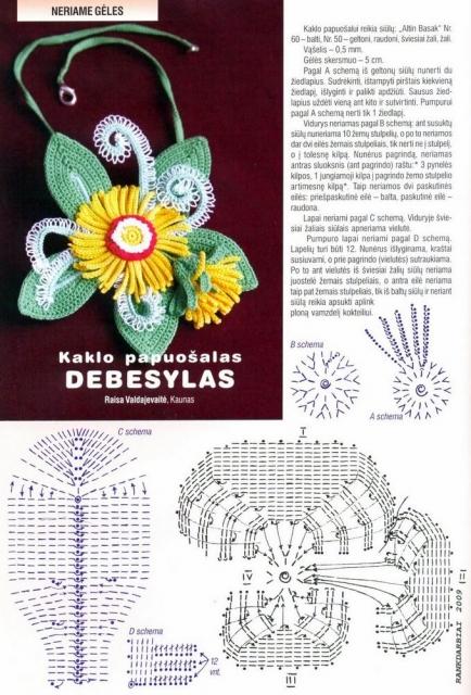 Схемы цветов, связанных крючком