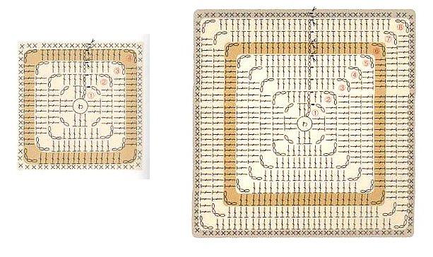 большие квадраты крючком схемы