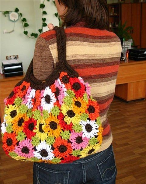 Летняя сумка с цветами крючком (Без перевода)