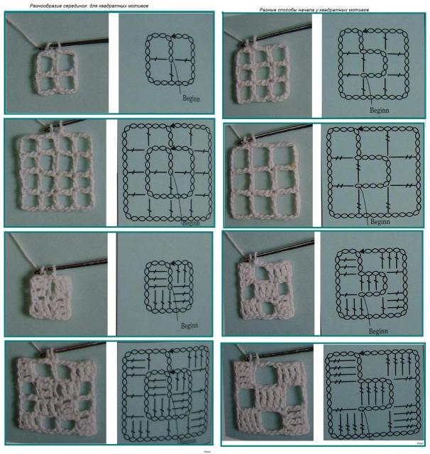 Способы вязания квадратных мотивов
