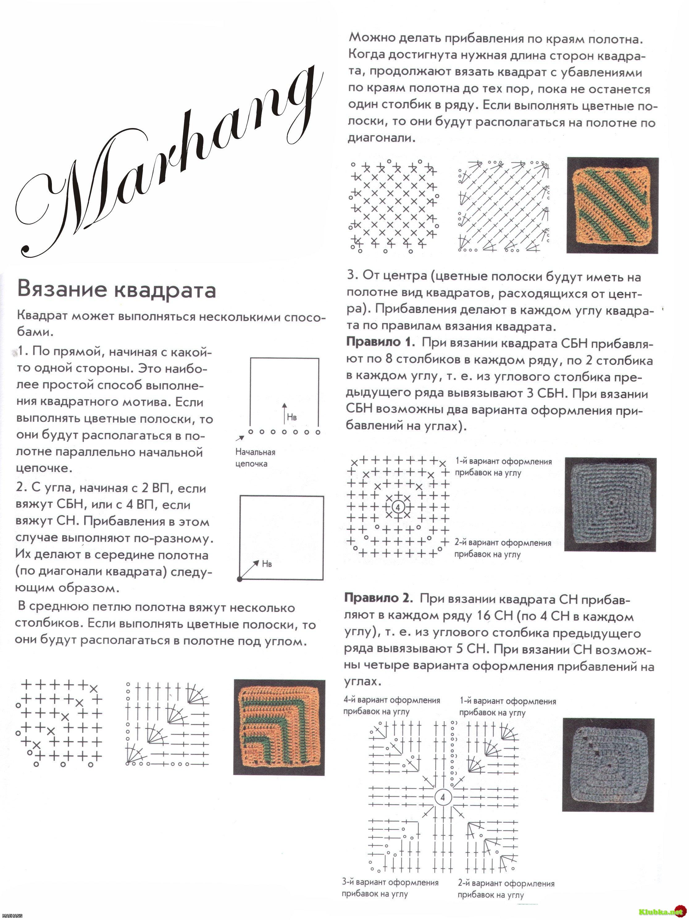 Вязание квадрат в квадрате спицами