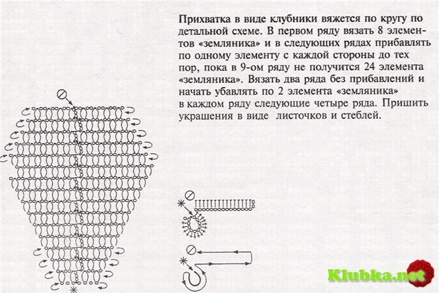 Объемная клубничка крючком