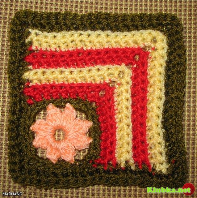 Квадратный мотив с цветочком