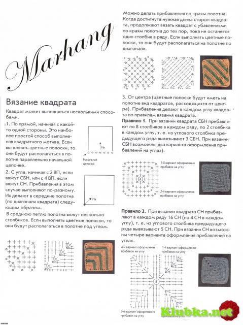 Урок вязания спицами квадрат