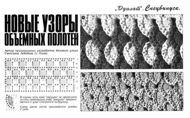Объемное вязание по сетке