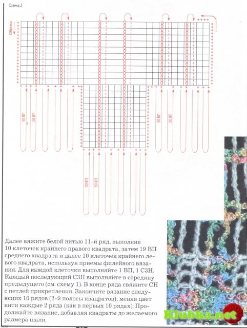 Шаль в технике имитации тканого полотна