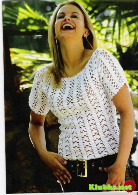 Белая блуза крючком