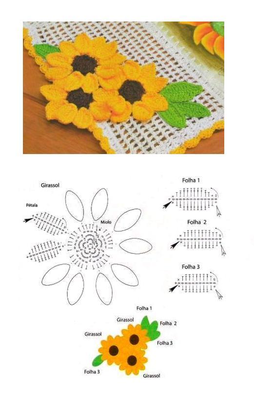 Схемы вязания крючком салфетка подсолнух