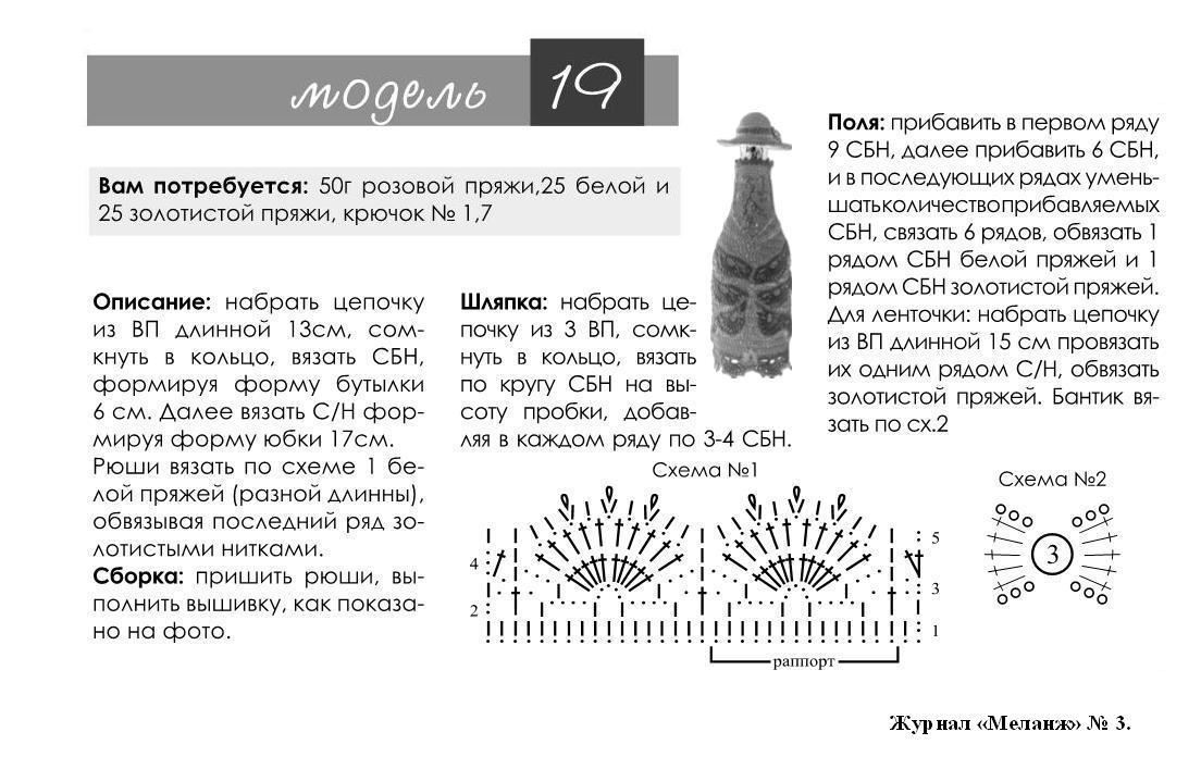 Чехол на бутылку схема и описание