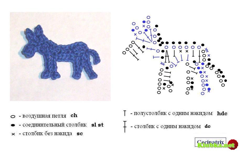 Схемы для вязания крючком животные 46