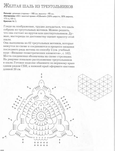 Желтая шаль из треугольников