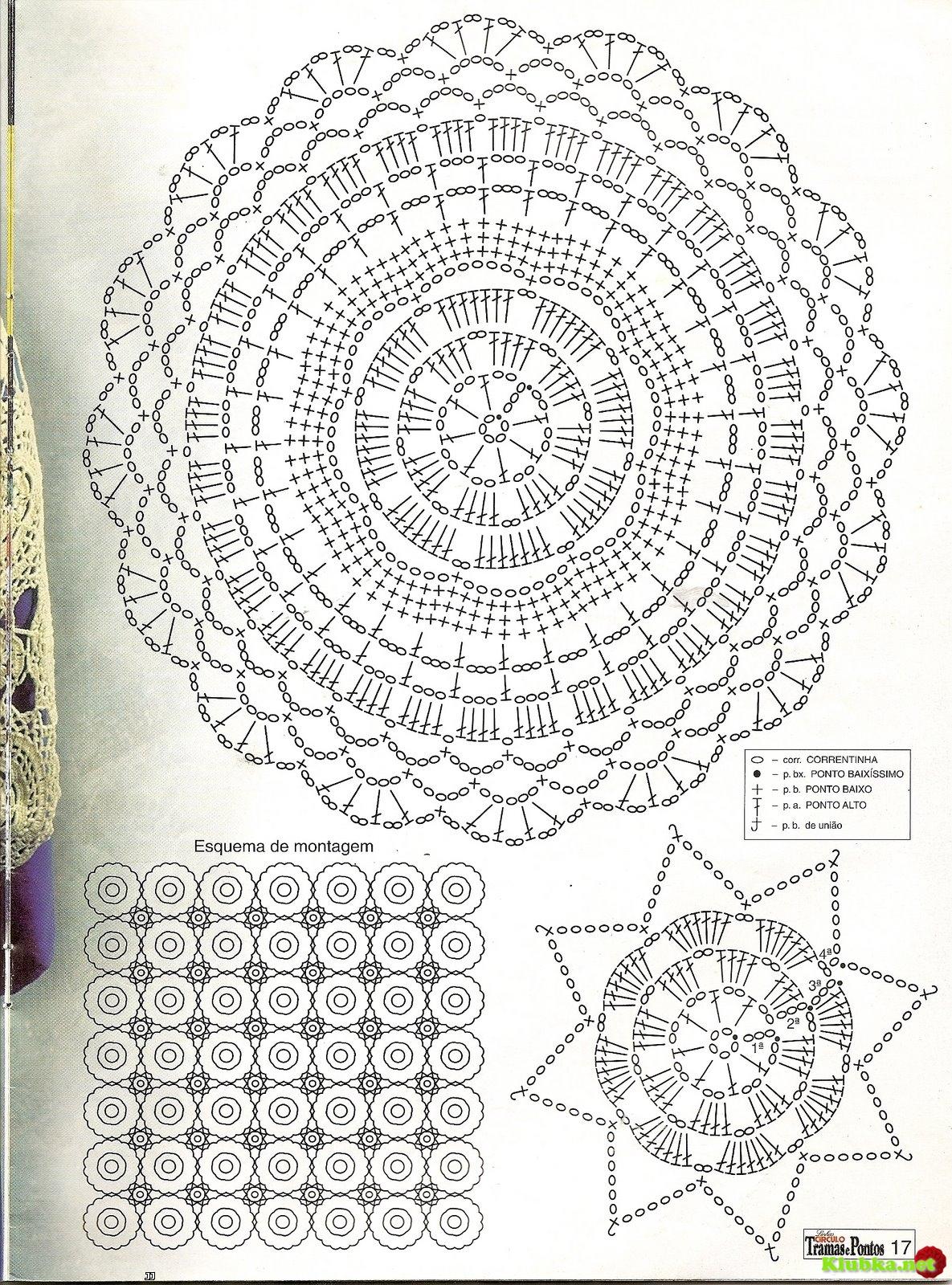Вязание крючком схемы скатерти из круглых мотивов
