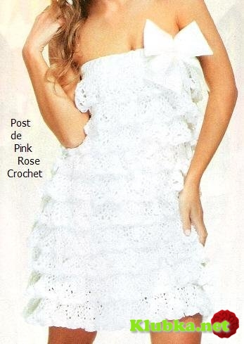 Белое летнее платье, связанное крючком