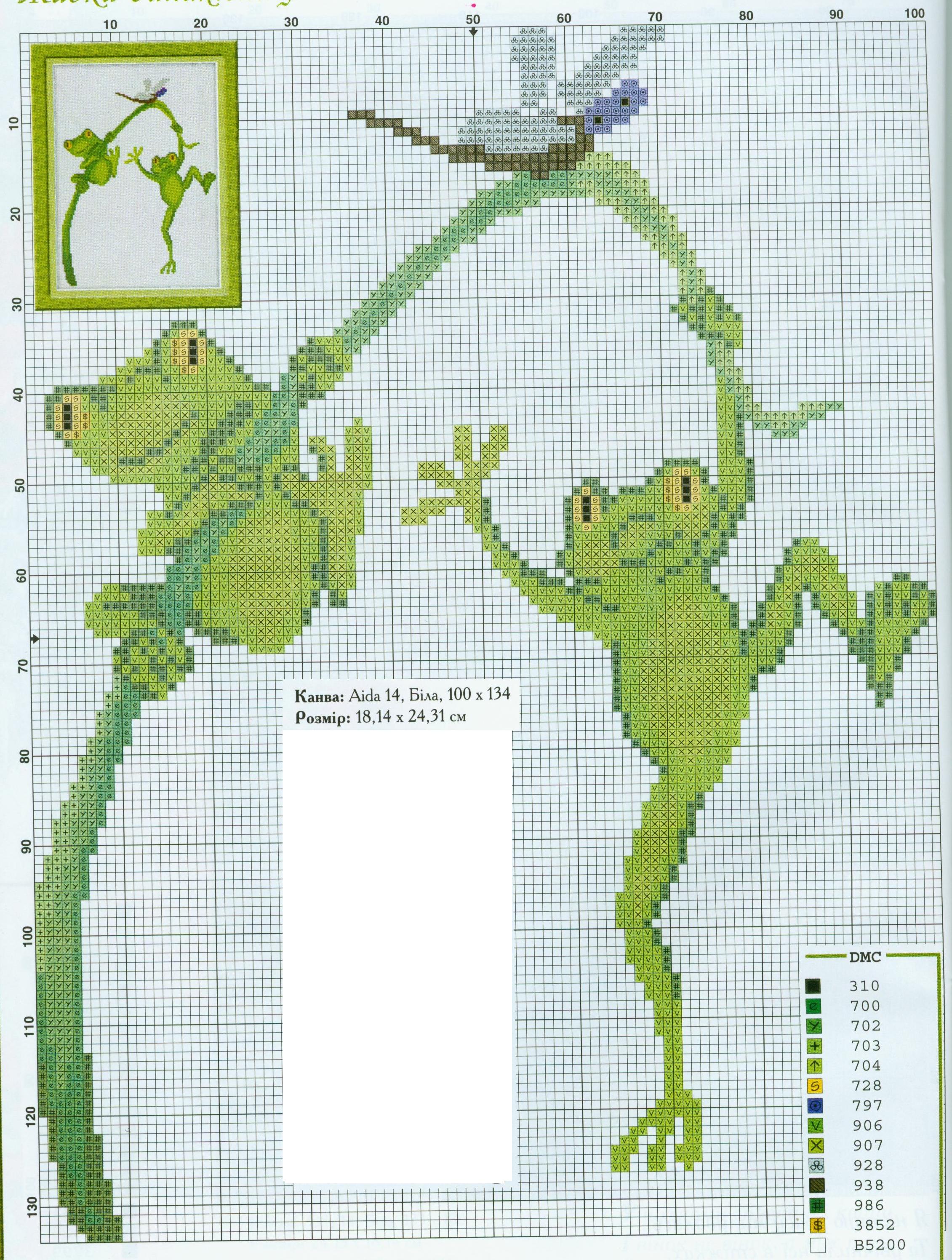Схемы вышивки крестиком лягушки и жабы 56