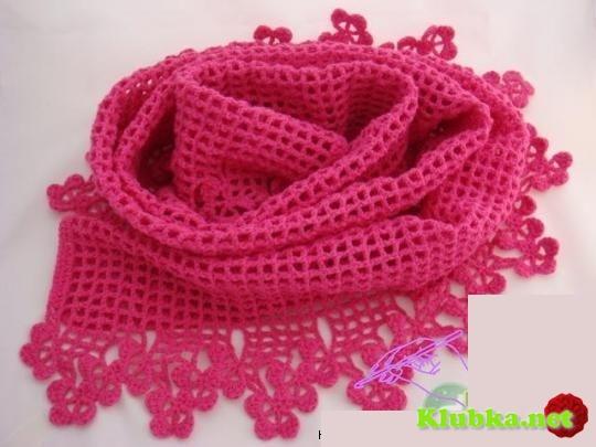 Филейный шарф с красивой каймой