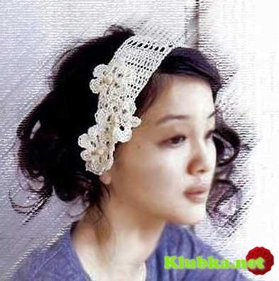 Цветочный вальс - вязаная повязка на голову