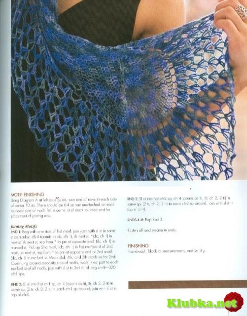 Ажурный шарф-палантин крючком (Без перевода)