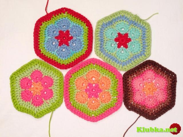 Вязание цветных шестиугольников (мастер класс Без перевода)