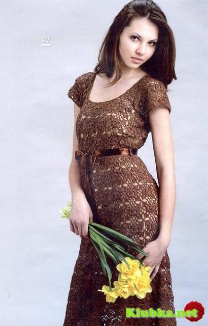 """Платье """"Шоколадные квадратики"""" крючком"""