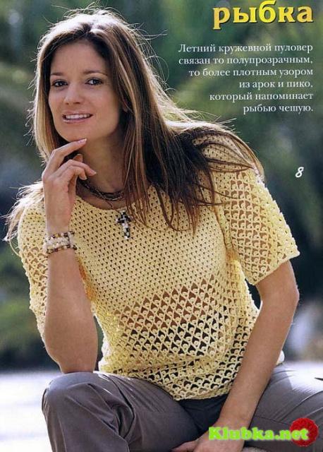 Летний кружевной пуловер крючком
