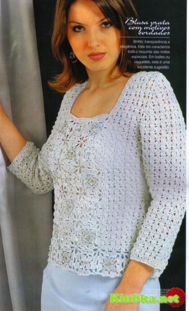 Пуловер из мотивов крючком