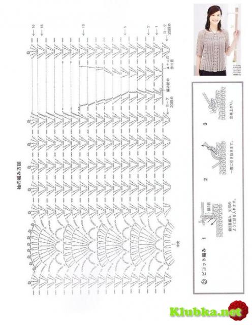 Блуза крючком от горловины (Без перевода)