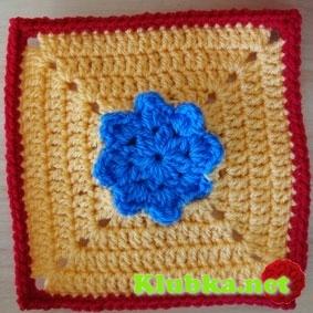 """Еще """"бабушкин квадрат"""" с цветочком"""