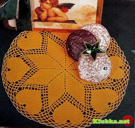 Круглая салфетка с сердечками крючком
