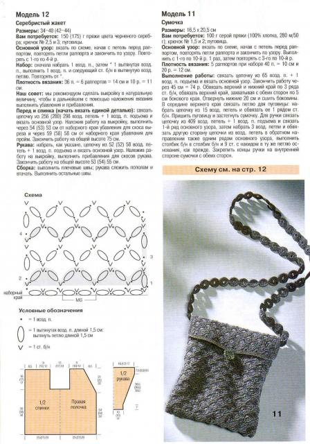 Крючок. схема вязания сумки 357