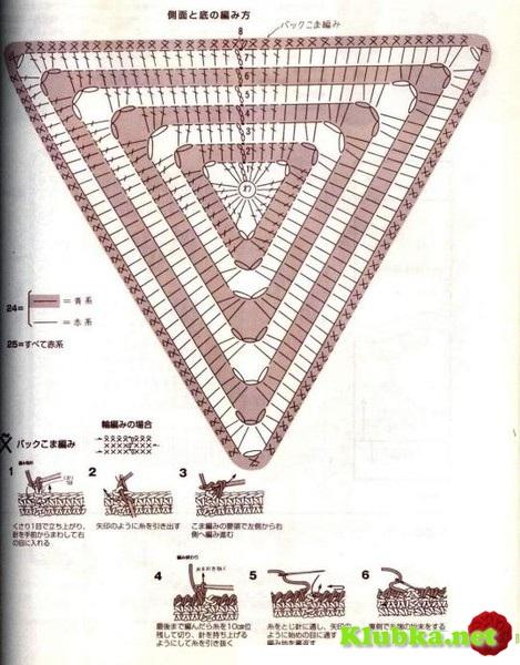 Треугольная сумочка крючком