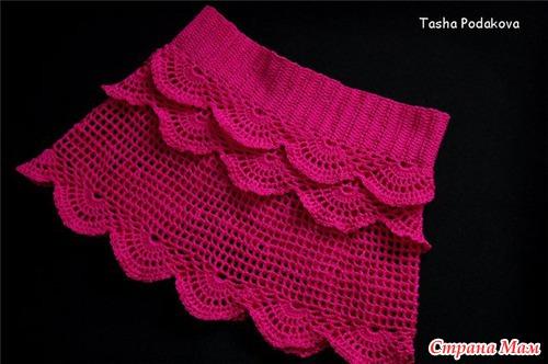 Малиновая юбочка с рюшами для