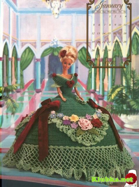 Зеленое платье с розами для Барби