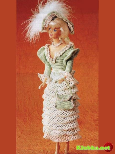 Платье с оборками для куклы Барби