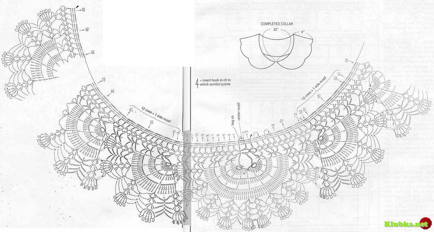 воротники вязаные крючком фото схемы
