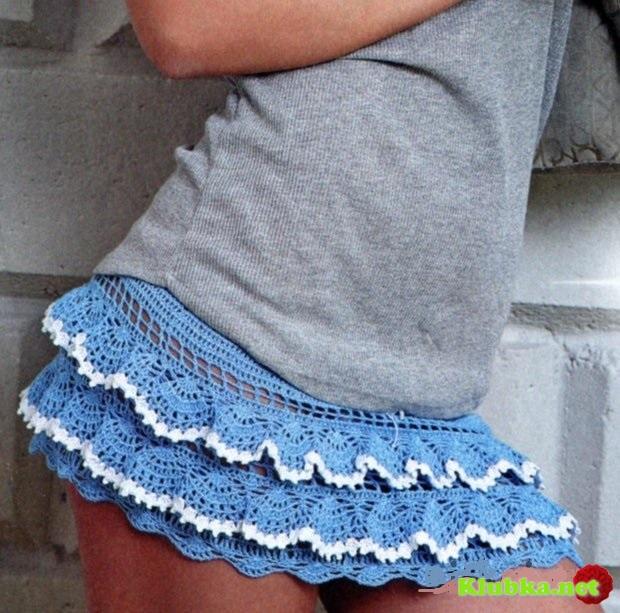 Голубая юбка крючком