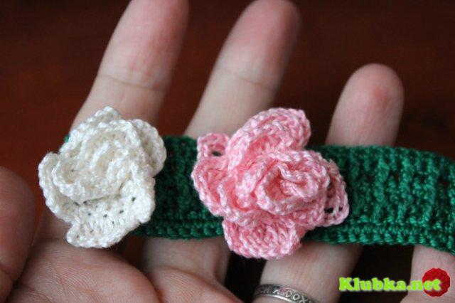Цветочный браслетик для девочки крючком