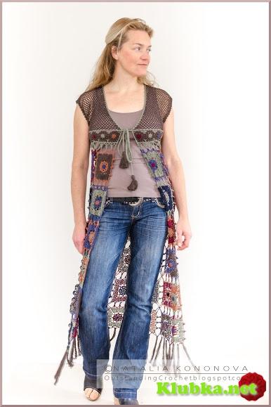 """Длинный жилет """"Long Vest """" с бахромой. Фото + схема мотива"""