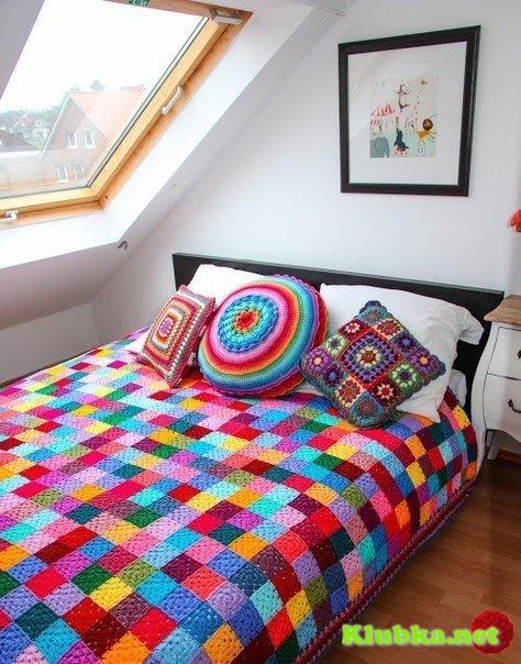 Разноцветный плед - схема вязания