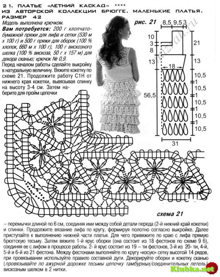 Вязание крючком платья и схемы с описанием